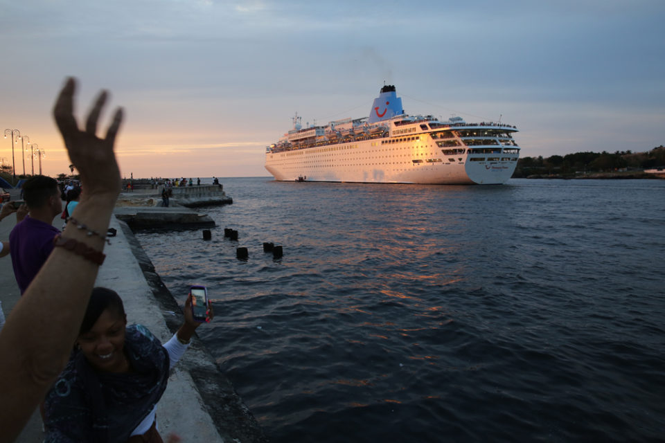 Huge cruise ship leaves Havana's harbor.